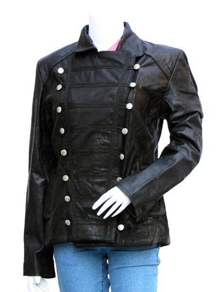 Women Black Military Leather Jacket - Banderas