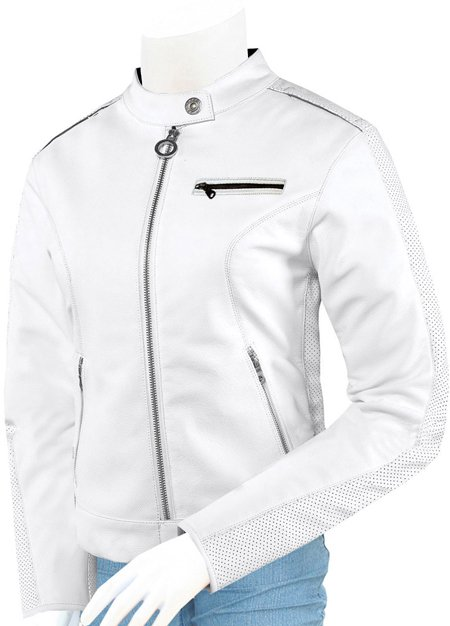 Biker Beautiful White Leather Jacket for Women - Lahariq