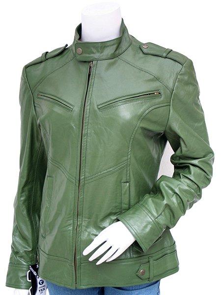 Fashion Green Leather Jacket Women - Abequa