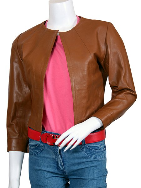 Women Tan Collarless Leather Jacket - Astoria