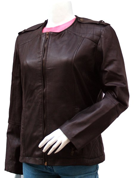 The Lady Fashion Collarless Leather Jacket - Saidi