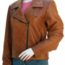 Women's Stylish Pointed Collar Tan Distressed Leather Jacket - Tawinga