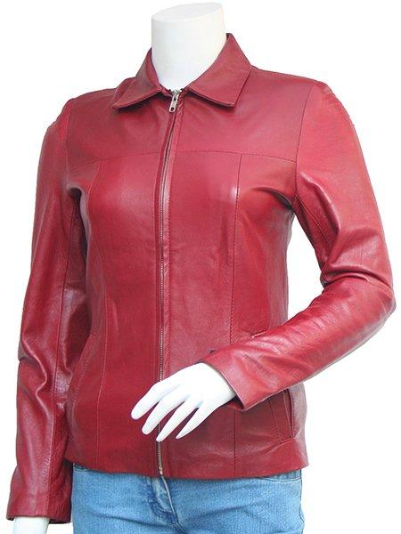 Trim Maroon Leather Jacket Women - Chalina