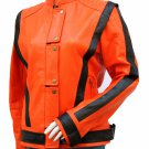 MJ Thriller Orange & Black Michael Jackson Women Leather Jacket