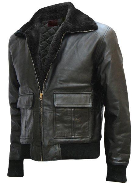 Black Bomber Brad Pitt Leather Jacket