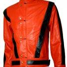 MJ Thriller Orange & Black Michael Jackson Leather Jacket