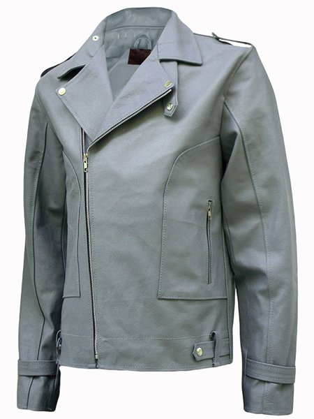 Fashion Grey Leather Jacket for Men - Kito