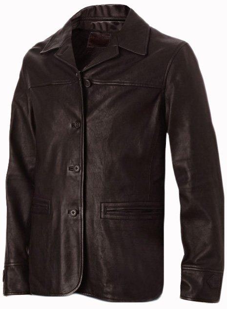 4 Button Brown Men's Leather Coat - Szabolcs
