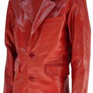 Slim 2 Button Red Men's Leather Coat - Udeh
