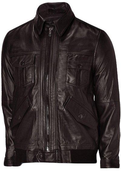 Men's Brown Leather Bomber Jacket - Kensou
