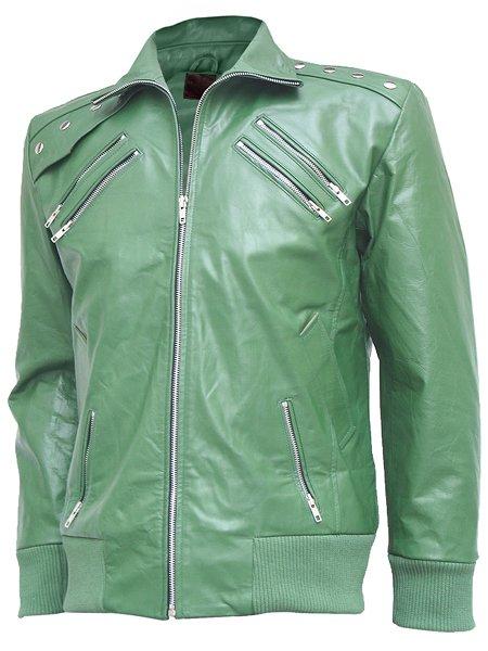 Charming Green Leather Bomber Jacket Men - Ryo