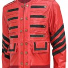 Men Maroon Bomber Military Leather Jacket - Celeste