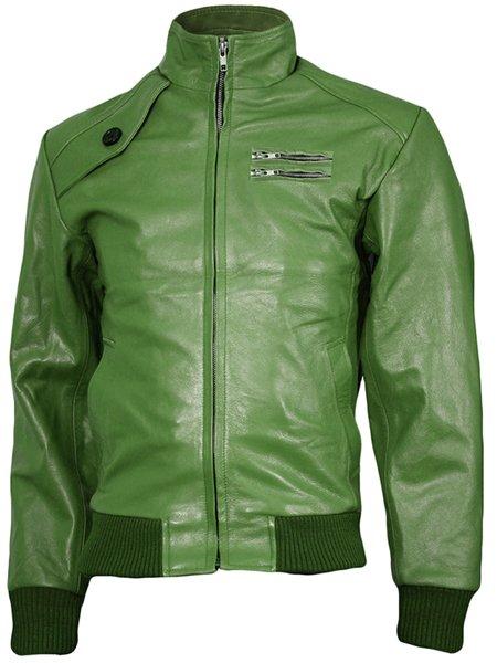 Expressive Green Bomber Leather Jacket Men - Iori