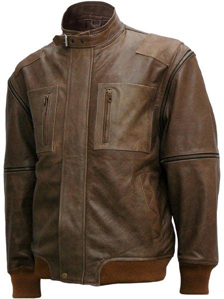 Distressed Men Brown Leather Bomber Jacket - Salomo
