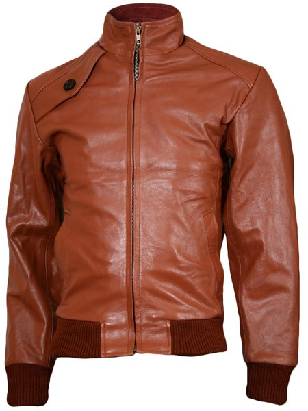 Soft Tan Leather Bomber Jacket Men - Ballinamore