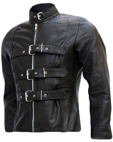 Belted Men's Black Leather Biker Jacket - Balrog