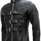Belted Men's Black Leather Biker Jacket - Balrog