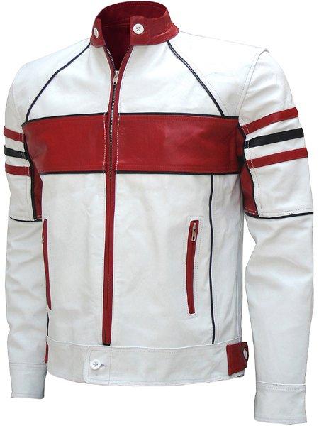 Bi-Color White Men's Leather Biker Jacket - Celesse
