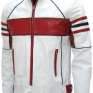 Bi-Color White Men's Leather Biker Jacket - Celesse