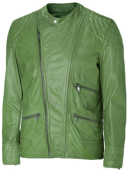 Charming Green Leather Jacket Men - Eddy