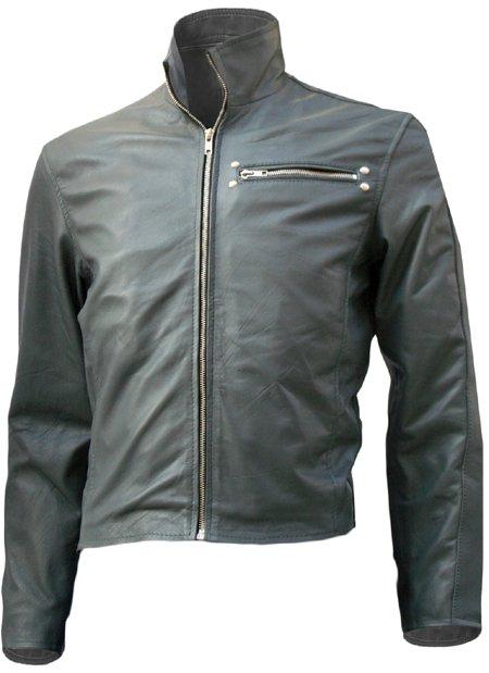 Classical Biker Grey Short Leather Jacket Men - Salter