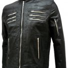 Men Black Leather Biker Jacket - Sutcliffe