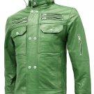 High Collar Green Leather Biker Jacket Men - Svein