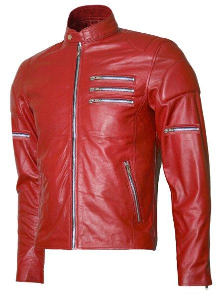Silver Zipper Biker Red Leather Jacket Men's- Afram