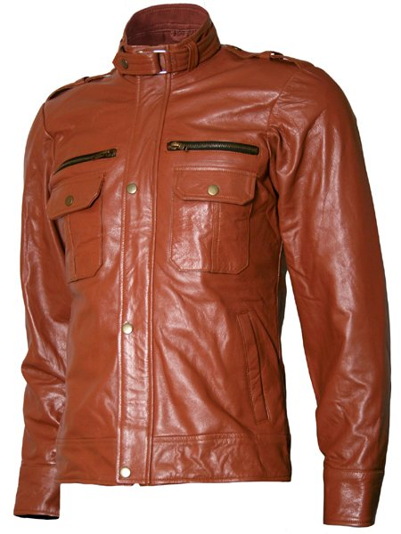 Tan Brown Moto Leather Jacket for Men - Lauer