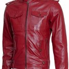 Biker Look Men Burgundy Leather Jacket - Wyatt