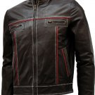 Double Stitched Men's Brown Leather Jacket - Saben
