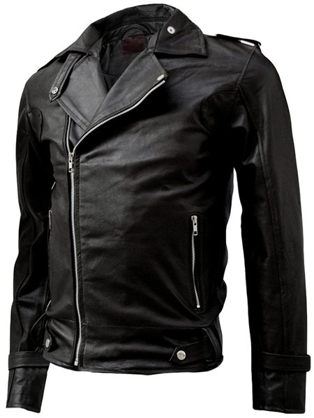 Classy Black Men's Leather Motorcycle Jacket - Salim