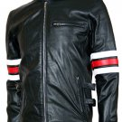 Biker Style Men's Black Leather Jacket - Lauren