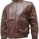 Contemporary Brown Men's Leather Bomber Jacket - Sadi