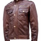 Chocolate Brown Leather Jacket Men - Safford