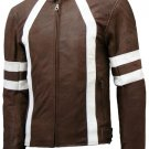 Distressed Brown Leather Motorcycle Jacket - Hiachi