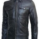 Golden Zipper Black Leather Jacket for Men - Ryker