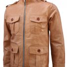 4 Pocket Men's Tan Leather Jacket - Lauper