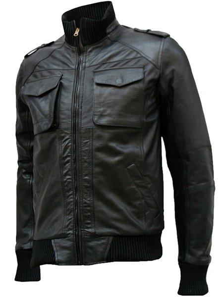 Flappy Black Leather Bomber Jacket Men's - Sabir