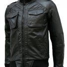 Flappy Black Leather Bomber Jacket Men's - Sabir