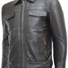 Cowhide Men's Brown Leather Biker Jacket - Osias