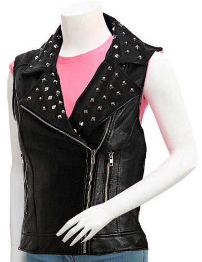 Studded Black Women Leather Motorcycle Vest - Zeneena