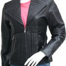 Black Quilted Leather Jacket Women - Kenzie