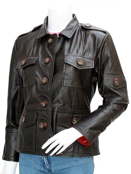 Women's Biker Leather Varsity Jacket - Talbot