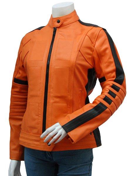 Women's Orange Leather Jacket - Salisbury