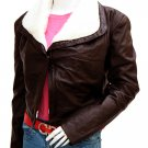 Women's Classy Brown Leather Jacket with Fur - Oba