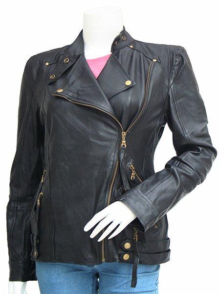 Golden Zipper Black Leather Biker Jacket Women - Nia