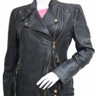 Golden Zipper Black Leather Biker Jacket Women - Nia