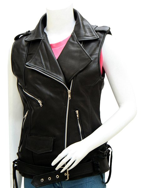 Women's Classical Black Leather Biker Vest - Antonio