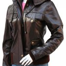 Top Class Brown Womens Leather Bomber Jacket - Sam